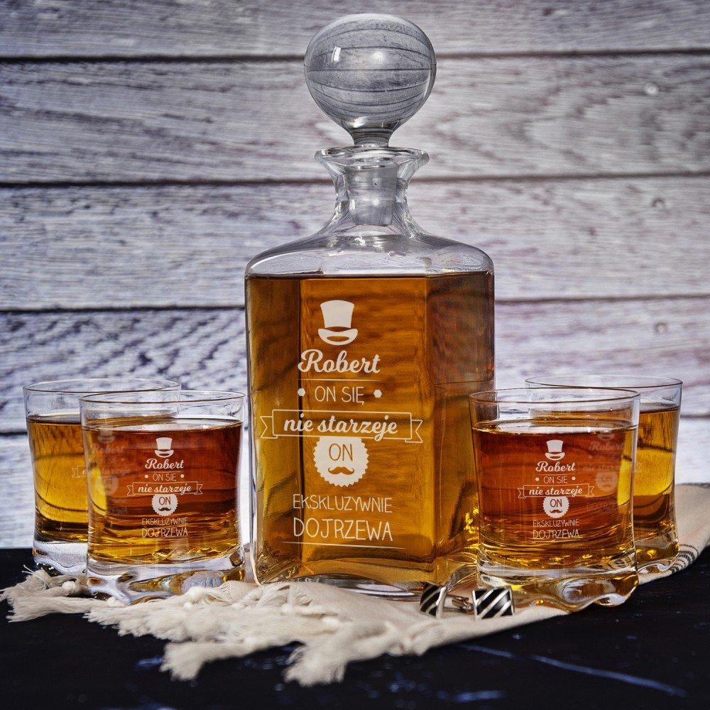 karafka i szklanki do whisky - jaki prezent na 50 urodziny
