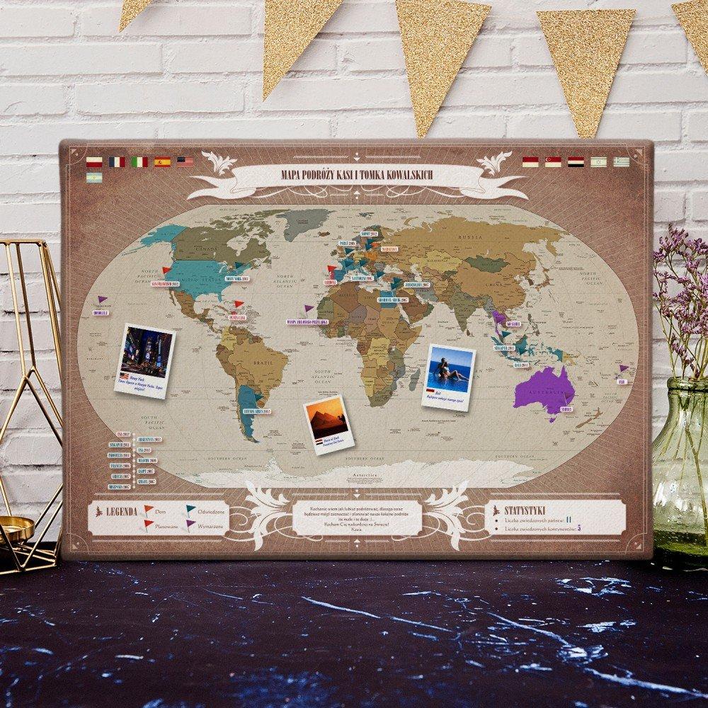 mapa podróży - jaki prezent na 18 urodziny