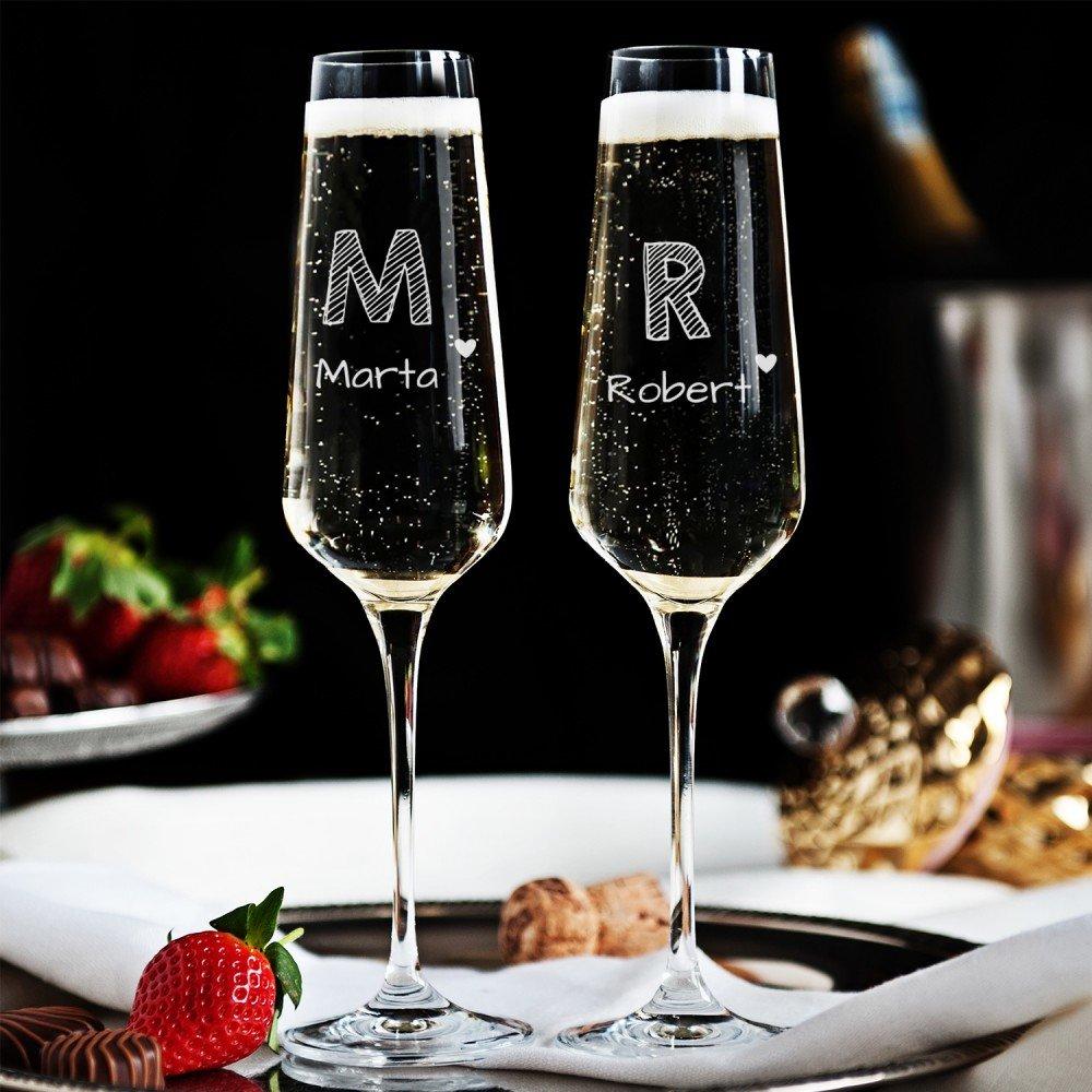 kieliszki do szampana - prezent dla teściów