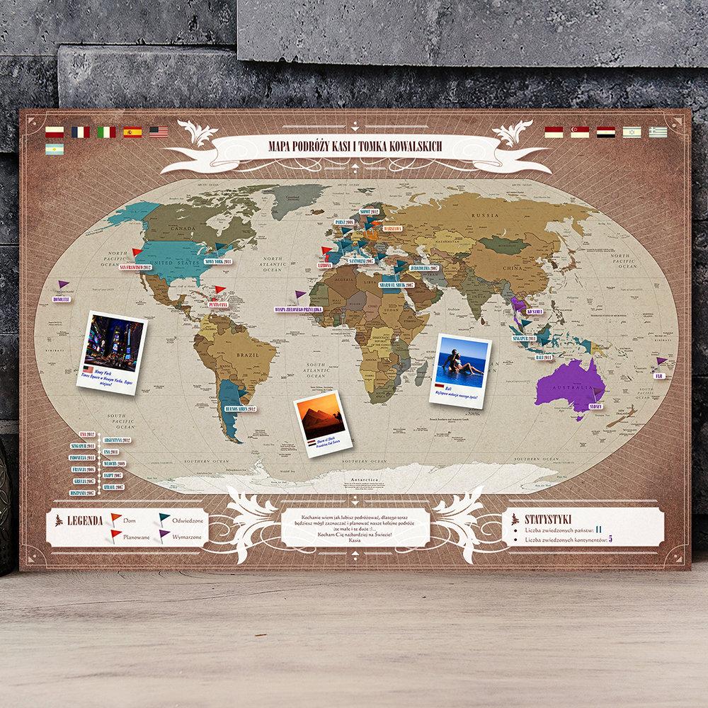 mapa podróży - prezent dla teściów